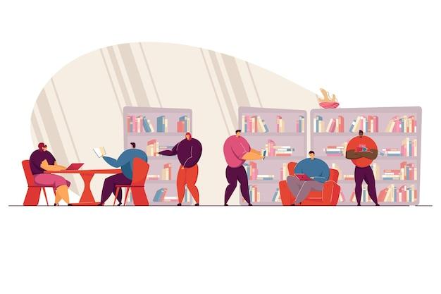 Pessoas espertas lendo livros na ilustração plana da biblioteca