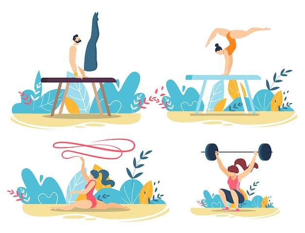 Pessoas esportivas fazem truques com conjunto de equipamentos de ginástica