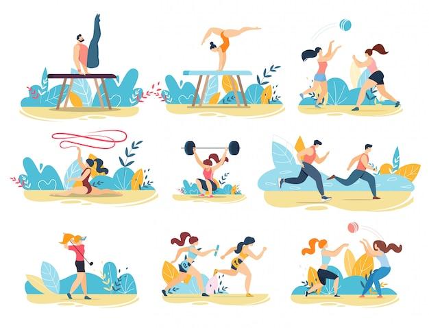 Pessoas esportivas profissionais realizando conjunto plano