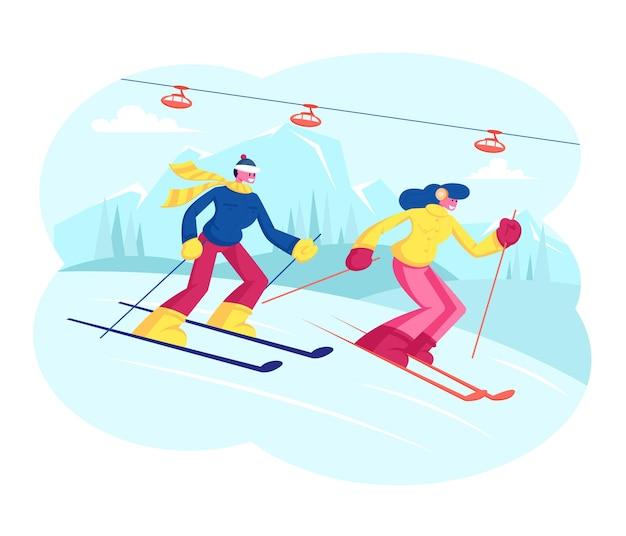 Pessoas esquiando. esquiadores de homem e mulher atravessam o país na temporada de inverno. ilustração plana dos desenhos animados