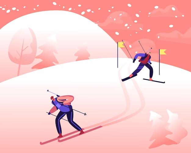 Pessoas esquiando ladeira abaixo durante a competição de biatlo. ilustração plana dos desenhos animados