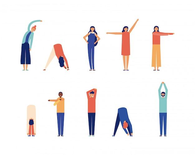 Pessoas esticando, estilo simples