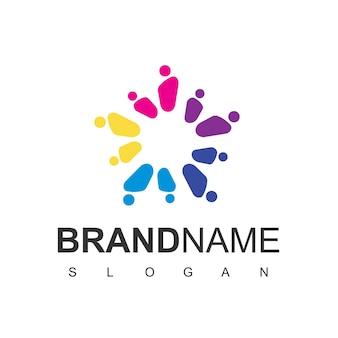 Pessoas estrela, modelo de design de logotipo da comunidade