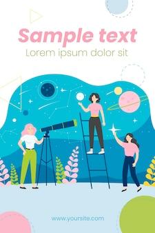 Pessoas estudando astronomia e ilustração de astrologia