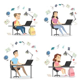Pessoas estudando conjunto. alunos e alunos em casa.