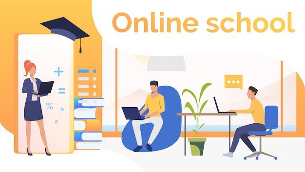 Pessoas estudando na escola on-line e chapéu de formatura