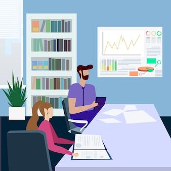 Pessoas estudando trabalhando no escritório dos desenhos animados