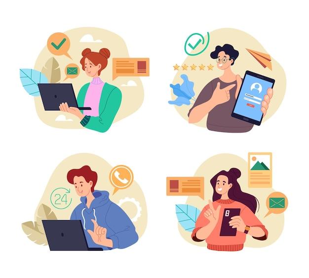 Pessoas estudantes trabalhadores personagens usando telefone laptop dispositivo conceito isolado conjunto.