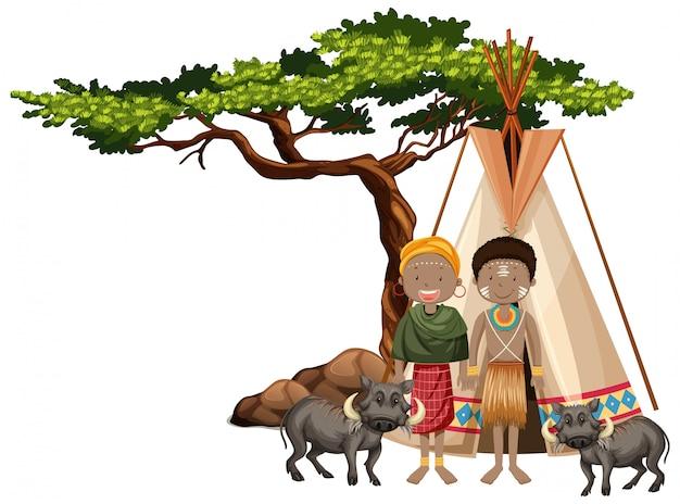 Pessoas étnicas de tribos africanas e animais selvagens