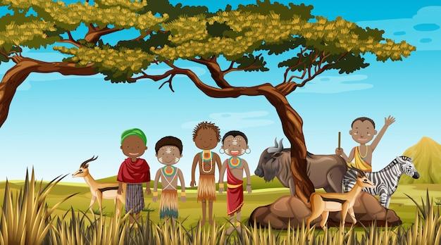 Pessoas étnicas de tribos africanas em roupas tradicionais em um ambiente natural
