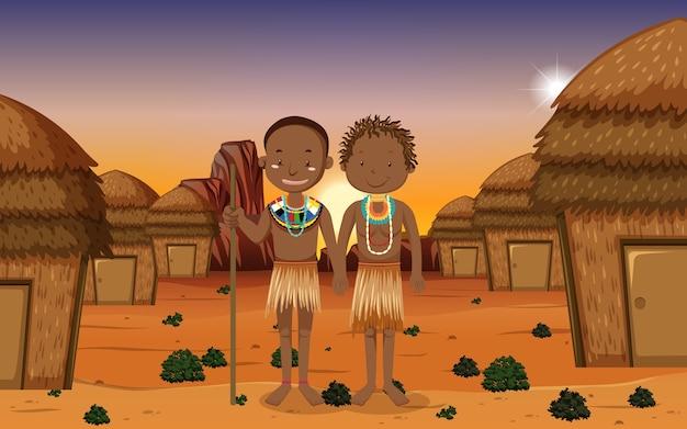 Pessoas étnicas de tribos africanas em roupas tradicionais em um ambiente natural Vetor Premium