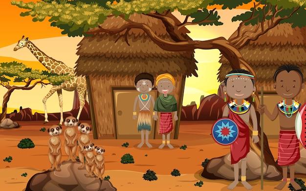 Pessoas étnicas de tribos africanas em roupas tradicionais em um ambiente natural Vetor grátis