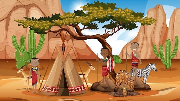 Pessoas étnicas de tribos africanas em roupas tradicionais na natureza