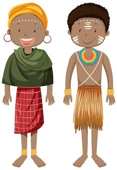 Pessoas étnicas de tribos africanas em um personagem de desenho animado com roupas tradicionais