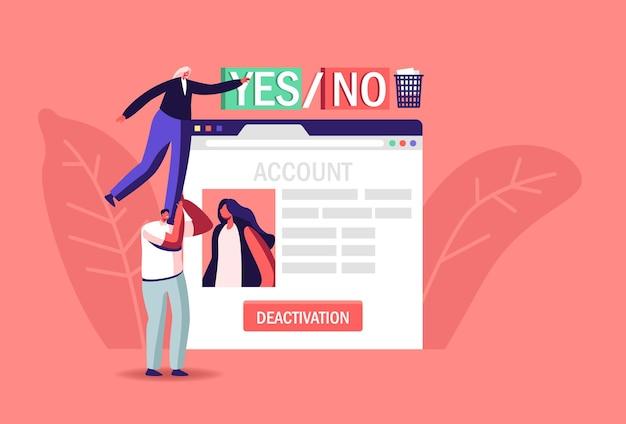 Pessoas excluindo informações privadas na internet, ilustração de desativação de conta