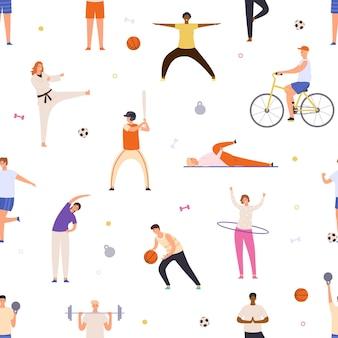 Pessoas exercem padrão sem emenda. o homem e a mulher ativos fazem ioga, praticam esportes, andam de bicicleta e jogam basquete. impressão de vetor de estilo de vida saudável plana. personagens fazendo caratê, jogando beisebol e futebol
