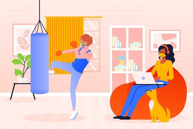 Pessoas exercitando e trabalhando em casa