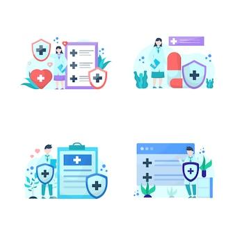 Pessoas explicando a importância da ilustração dos serviços de seguro de saúde, para landing page, interface do usuário, site, aplicativo móvel, cartaz e banner
