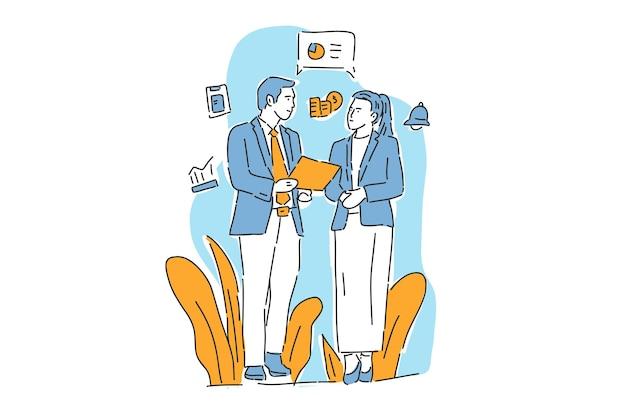 Pessoas falam de benefício de negócios ilustração mão sorteio