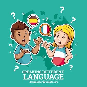 Pessoas falando em diferentes idiomas
