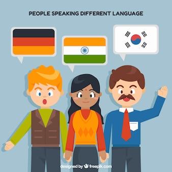 Pessoas falando idiomas diferentes