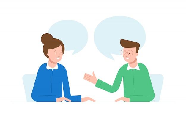 Pessoas falando ilustração do personagem. conceito de trabalho em equipe. entrevista de emprego.