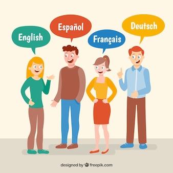 Pessoas falando línguas diferentes com design plano