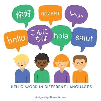Pessoas falando línguas diferentes com estilo desenhado mão