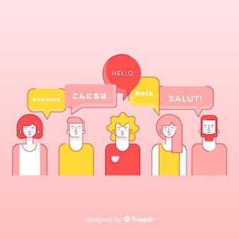 Pessoas falando línguas diferentes em design plano