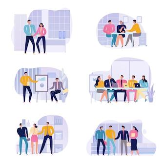Pessoas falando no conjunto de ícones plana de reunião de negócios isolado no branco
