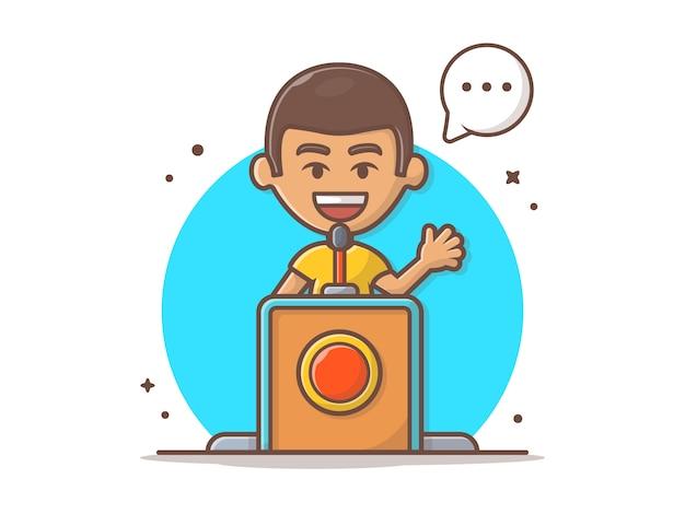 Pessoas falando no púlpito ilustração em vetor