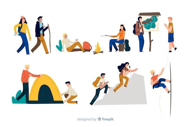 Pessoas fazendo ações de aventura