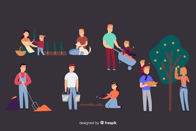 Pessoas, fazendo, agricultura, atividades