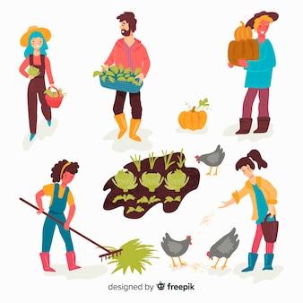 Pessoas, fazendo, agricultura