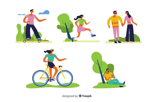 Pessoas, fazendo, ao ar livre, atividades, cobrança