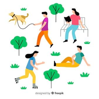 Pessoas, fazendo, ao ar livre, atividades