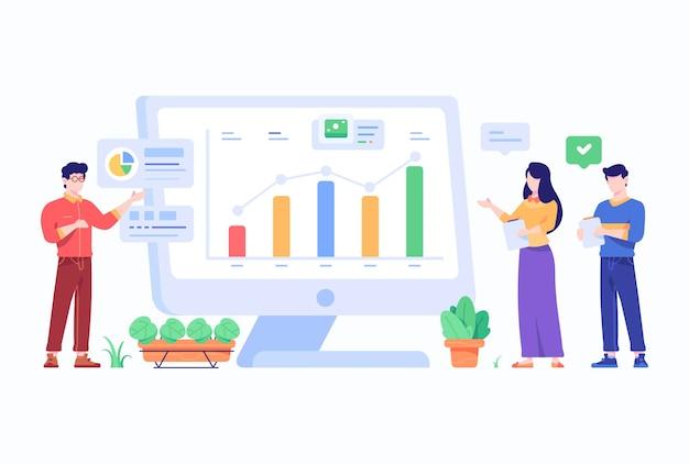 Pessoas fazendo apresentação e análise de gráficos de negócios conceito flat style design illustration