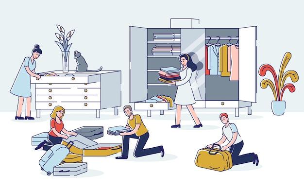 Pessoas fazendo as malas viajam. homens e mulheres jovens tirando roupas e outras coisas do guarda-roupa
