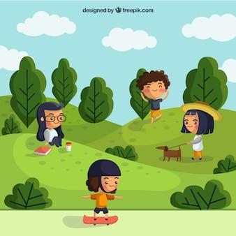 Pessoas fazendo atividades ao ar livre com design plano