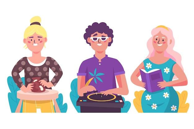 Pessoas fazendo atividades culturais ilustração