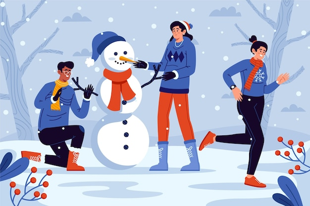 Pessoas fazendo atividades de inverno ao ar livre
