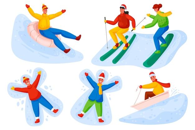 Pessoas fazendo atividades de inverno