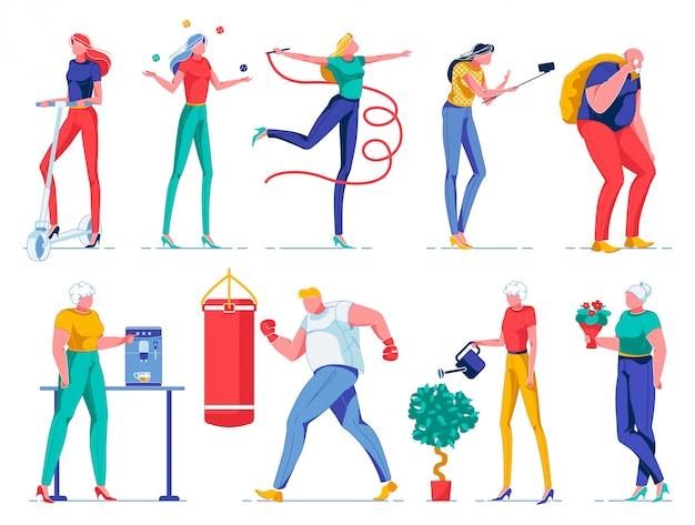 Pessoas fazendo atividades diferentes, mulheres e homens.