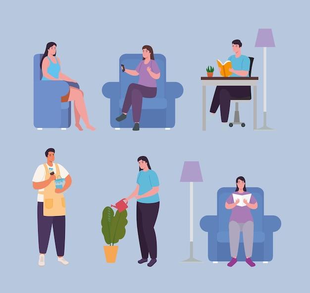 Pessoas fazendo atividades em casa icon set design de atividade e lazer