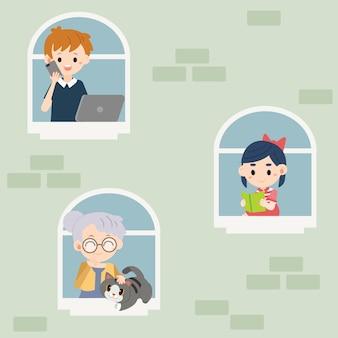 Pessoas fazendo atividades em suas janelas