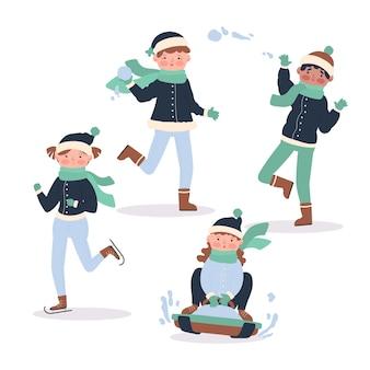 Pessoas fazendo atividades externas de inverno