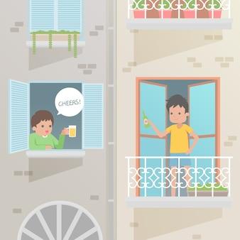 Pessoas fazendo atividades no conceito de varanda