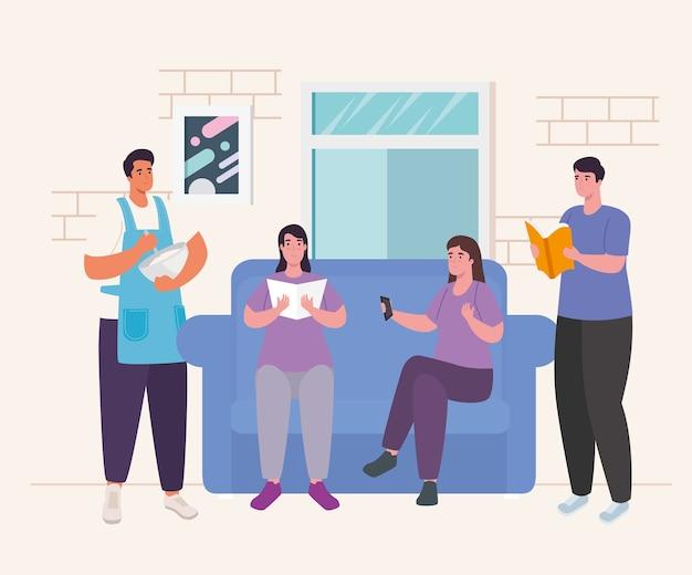 Pessoas fazendo atividades no sofá em casa, design de atividade e lazer