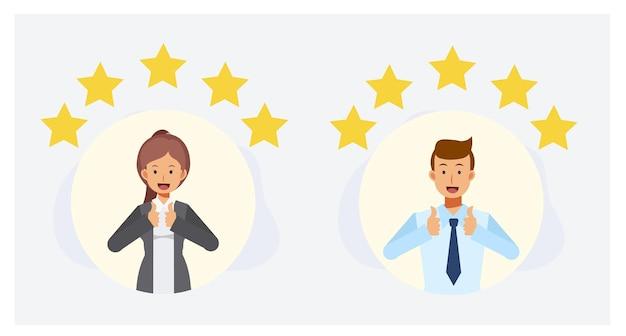 Pessoas fazendo bom sinal, mostra o conceito de avaliação e feedback de cool.review do gesto. ilustração do personagem de desenho animado 2d plana do vetor.
