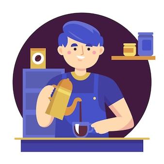 Pessoas fazendo café de diferentes métodos